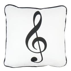 Agifty G-clef Sol Anahtarı Basklıl Beyaz  Yastık(40 X 40 Cm)