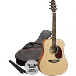 Ashton D25CEQ Elektro Akustik Gitar Paket (Mat Natural)