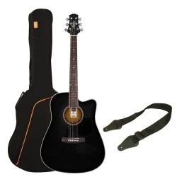 Ashton D25CEQ Elektro Akustik Gitar Paketi (Siyah)