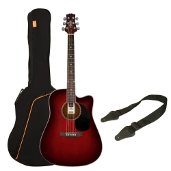 Ashton SPD25CEQ Elektro Akustik Gitar Seti (Wine Red Sunburst)