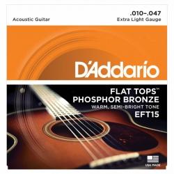 D'Addario EFT15 Flat Tops Akustik Gitar Teli (010-047)