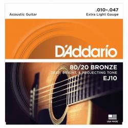 D'Addario EJ10 80/20 Bronze Akustik Gitar Teli (010-047)