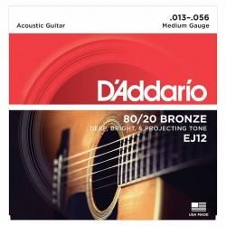 D'Addario EJ12 80/20 Bronze Akustik Gitar Teli (013-056)