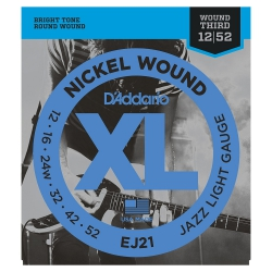 D'Addario EJ21 Nickel Wound Jazz Light Elektro Gitar Teli (.012-.052)
