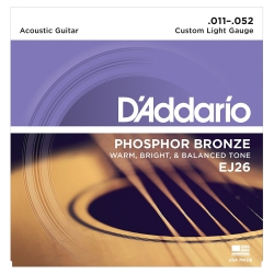 Daddario EJ26 Phosphor Bronze Custom Light Akustik Gitar Teli (011-052)