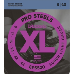 D'Addario EPS520 XL ProSteels Super Light Elektro Gitar Teli (.009-.042)