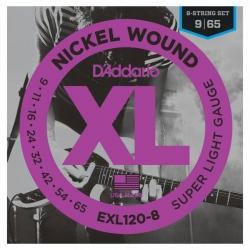 D'Addario EXL120-8 8 Telli Elektro Gitar Teli (009-065)