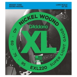 D'Addario EXL220 Nickel Wound Super Light Set Bas Gitar Teli (40-95)