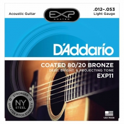D'Addario EXP11 Light Coated 80/20 Akustik Gitar Teli (12-53)
