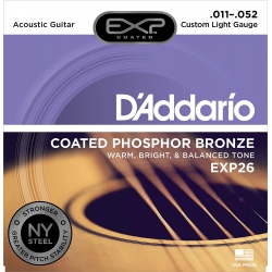 D'Addario EXP26 EXP Coated Phosphor Bronz Custom Akustik Gitar Teli (11-52)