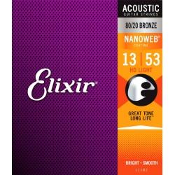 Elixir 11182 80/20 Bronze HD Light Akustik Gitar Teli (13-53)