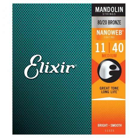 Elixir 80/20 Bronze With Nanoweb Coating Mandolin Teli<br>Fotoğraf: 1/2