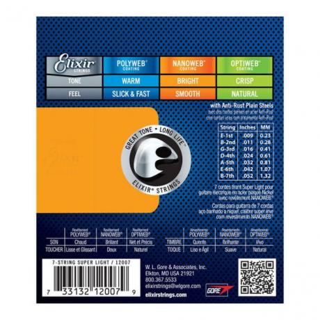 Elixir Nanoweb 12007 Super Light 7 Telli Elektro Gitar Teli (009 - 052)<br>Fotoğraf: 2/2