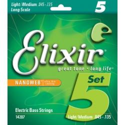 Elixir Nanoweb Light Medium 5 Telli Bas Gitar Teli (045-135)