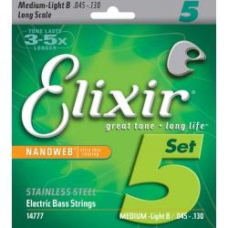 Elixir Nanoweb Medium 5 Telli Bas Gitar Teli (045-130)