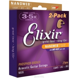 Elixir Nanoweb Phosphor Bronze Akustik Gitar Teli 2 Paket (12-53)