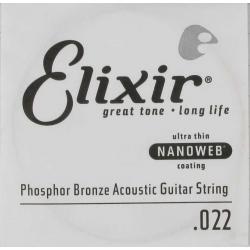 Elixir Nanoweb Phosphor Bronze Tek Akustik Gitar Teli (22)