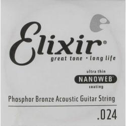 Elixir Nanoweb Phosphor Bronze Tek Akustik Gitar Teli (24)