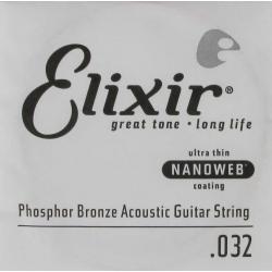 Elixir Nanoweb Phosphor Bronze Tek Akustik Gitar Teli (32)