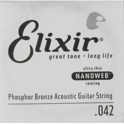 Elixir Nanoweb Phosphor Bronze Tek Akustik Gitar Teli (42)