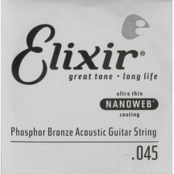 Elixir Nanoweb Phosphor Bronze Tek Akustik Gitar Teli (45)