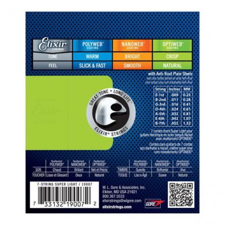 Elixir Optiweb 19007 Super Light 7 Telli Elektro Gitar Teli (009 - 052)<br>Fotoğraf: 2/2