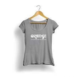 Orange Logo Kadın T-Shirt (Gri)