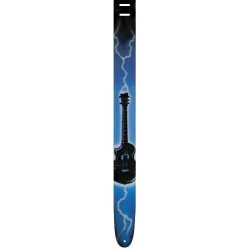 Perris Leather P25AB-402 Airbrush Blue Lightning Gitar Askısı