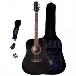 Sx SA1-SK-LH-BK Solak Dreadnought Akustik Gitar Seti
