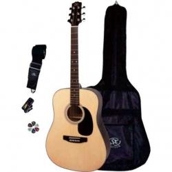 SX SA1-SK-NA Akustik Gitar Seti (Natural)
