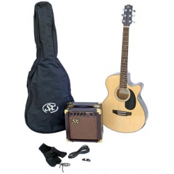 SX SA3 Naturel SOLAK Akustik Gitar Seti