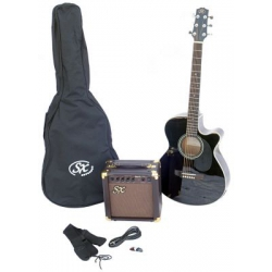 SX SA3 Siyah SOLAK Akustik Gitar Seti