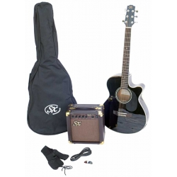 Sx SA3-SK-BK Elektro Akustik Gitar Seti